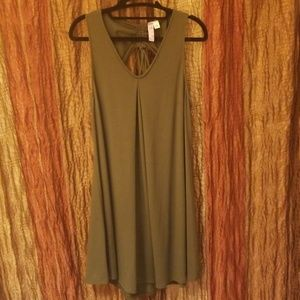 Army green shift dress